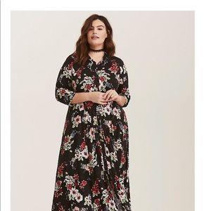 black floral challis maxi shirt dress